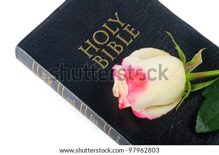 Bible and rose isolated on white background - stock photo