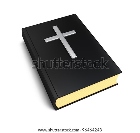 Bible book and silver cross over white