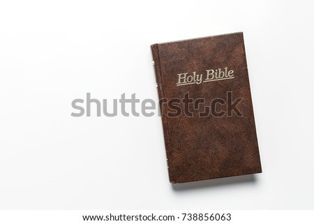 Bible book christian brown on white background.