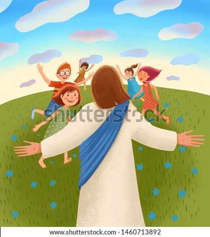 Bible children illustration. Jesus waits for children with open arms, children run to him with joy and happiness.