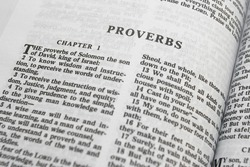 Bible close-up on Proverbs with shallow DOF
