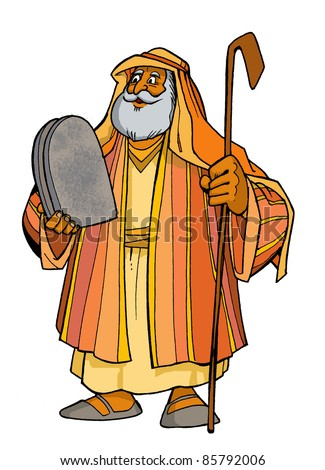 Bible hero patriarch Moses holding two tablets with the Ten Commandments and the staff colored children's illustration
