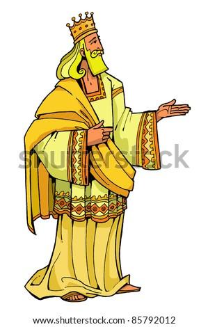 Bible hero Wise King Solomon of Israel colored children's illustration