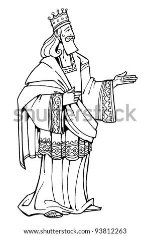 Bible hero Wise King Solomon of Israel coloring children's illustration
