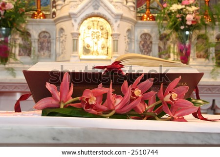 Bible in Catholic Church on altar at wedding or funeral ceremony