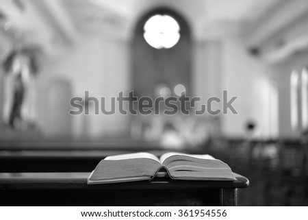 Bible in church , black and white , B&W