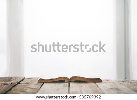 Bible on wooden table