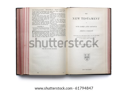 Bible open at the beginning of the New Testament