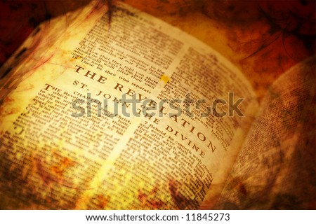 Bible showing The Revelation in distressed vintage style - stock photo