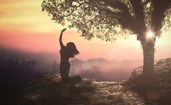 Bible story: Eve and forbidden tree with fruit in Eden garden
