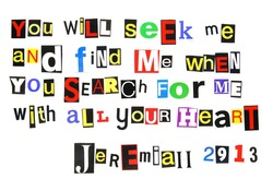 bible verse Jeremiah 29:13 written in a colorful mix of cutout ransom note style letters
