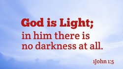 Bible words about god is light in him there is no darkness at all with white and blue color background