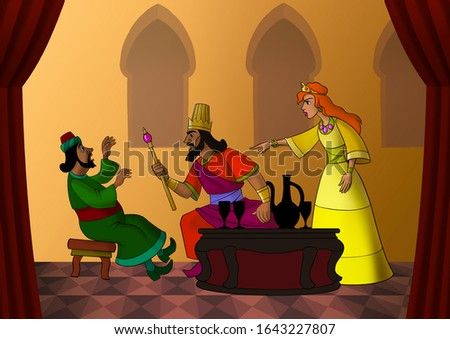 Biblical Book of Esther,  Bible story, illustration, Foto stock ©