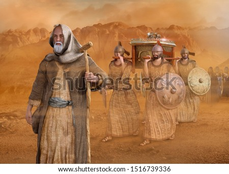 Biblical Moses leads the Isrealites through the desert Sinai during the Exodus, in the wilderness, in search of the Promised Land with the Ark of the Covenant, 3d render painting