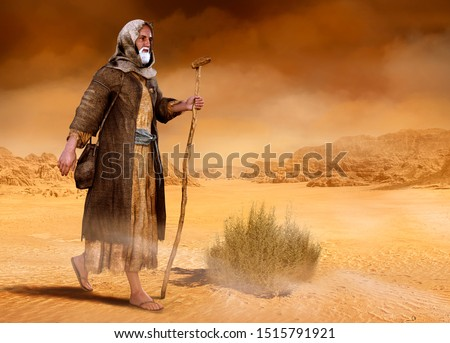 Biblical Moses walks through the Sinai desert, the wilderness, in search of the Promised Land, 3d render painting Stock fotó ©