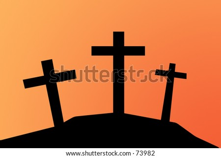 Biblical scene. 3 Crosses against a sunset sky.