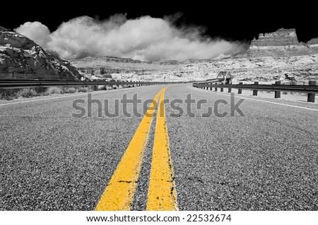 Bicentennial Highway at Hite bridge in Glen Canyon National Recreational Area - stock photo