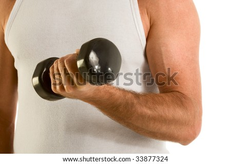 biceps of man working out with black medium size dumbbell