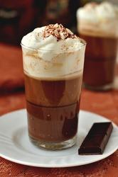 Bicerin, Turin style coffee, layered coffee dessert: chocolate, coffee, whipped cream