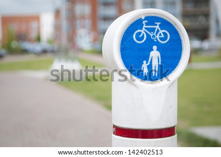 Bicycle and pedestrian lane in Ipswich, Suffolk, UK.
