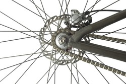 Bicycle Back Wheel with Disc Brakes on White