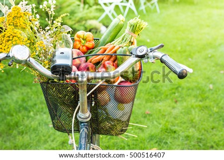 bicycle basket filled with...