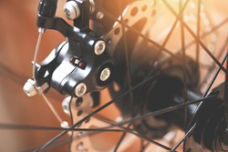bicycle brake / Close up the back disc brake bike