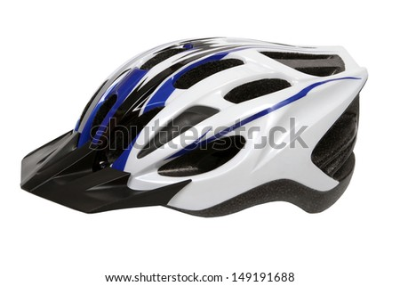 bicycle cross country plastic helmet isolated on white - stock photo