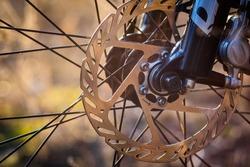 Bicycle disk brake rotor in focus