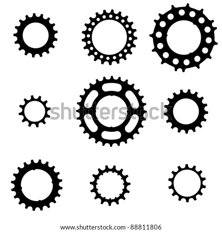 bicycle freewheel cogs (sprockets, gears) of various types and sizes