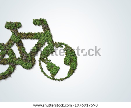 Bicycle Green forest. 3D Green bicycle- World Bicycle day or World environment day concept isolated on white background.