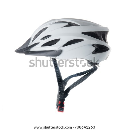 Bicycle helmet isolated on white background #708641263