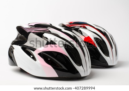 Bicycle helmet on white background #407289994