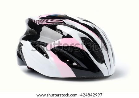 Bicycle helmet on white background #424842997