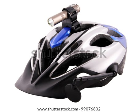 Bicycle helmet with a lantern and a mirror on the isolated white background - stock photo