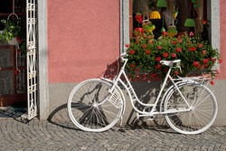 Bicycle in Front of a Entrance to the Flower Shop.