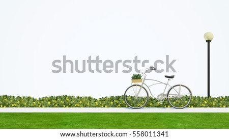 bicycle in park and white background - 3d rendering stock photo