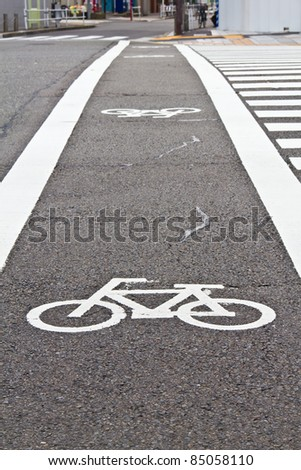 Bicycle lane across the road in Nagoya city, Japan #85058110