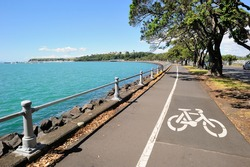 Bicycle lane along the harbour in Auckland area, New Zealand