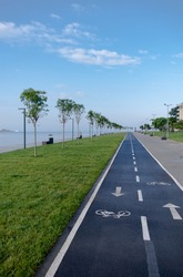 bicycle lane and by the walking path, coastal road, moda, kadikoy, istanbul,