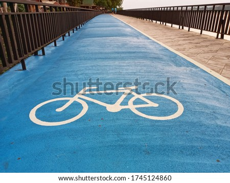 Bicycle lane for exerciting.sign concept Stock photo ©