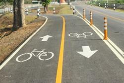 Bicycle lane sign on street.