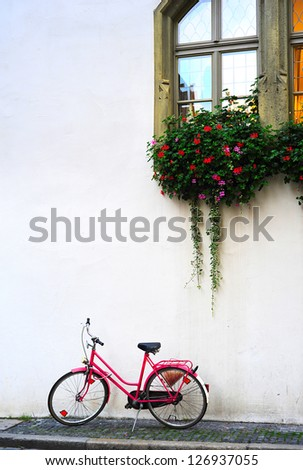 Bicycle leaning against wall. Germany