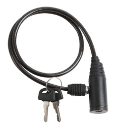 Bicycle lock with cable (with clamp) isolated. Bicycle accessory for bike protection and security. Bike Lock
