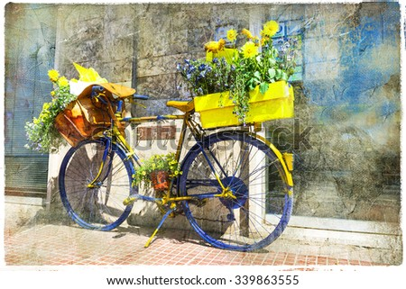 Bicycle of postman - charming street decoration, retro picture