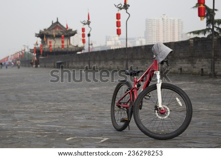 bicycle on ancient city wall