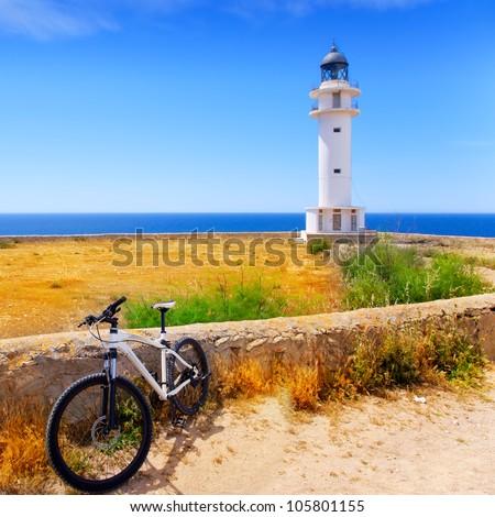 bicycle on Balearic island of Formentera near Barbaria cape Lighthouse