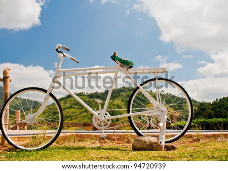 Bicycle on blue sky