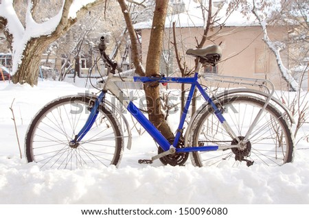 bicycle on the street in winter