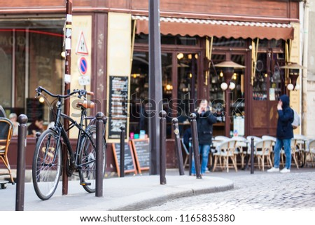 Bicycle parked at a corner on the famous neighborhood of Montmartre in Paris